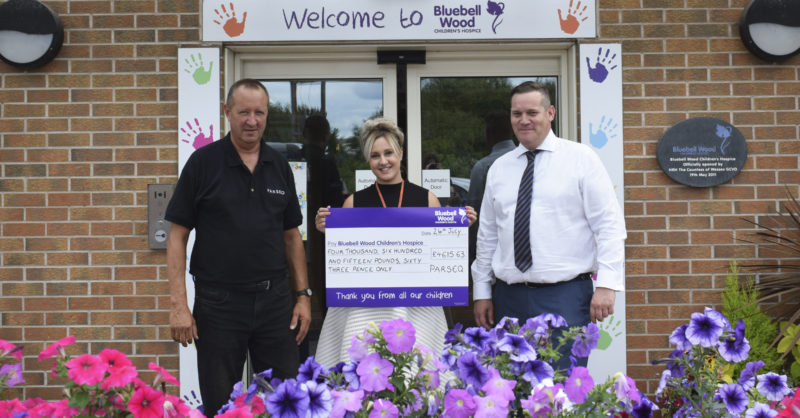Parseq cheque presentation at Bluebell Wood Children's Hospice